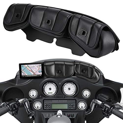 TUINCYN Borsa per Parabrezza con 3 Tasche per Harley Touring Electra Street Tri Glide 1996-2013 Colore Nero