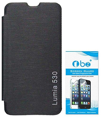 RRTBZ Flip Cover Case for Nokia Lumia 530 with Screen Guard -Black