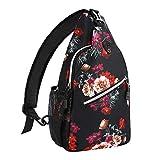 MOSISO Sling Backpack,Travel Hiking Daypack Cottonrose Crossbody Shoulder Bag, Black
