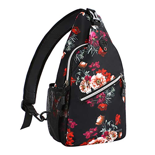 MOSISO Sling Backpack,Travel Hiking Daypack Cottonrose Crossbody Shoulder Bag, Black