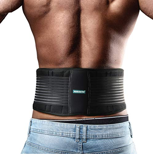 Marakym Lower Back Support Strap Waist Supporter for Men & Women - Lumbar Brace for Back Pain Relief - Gym Belts for Lifting, Slipped Disc Protector, Fitness Belt for Working Out - Large to XLarge