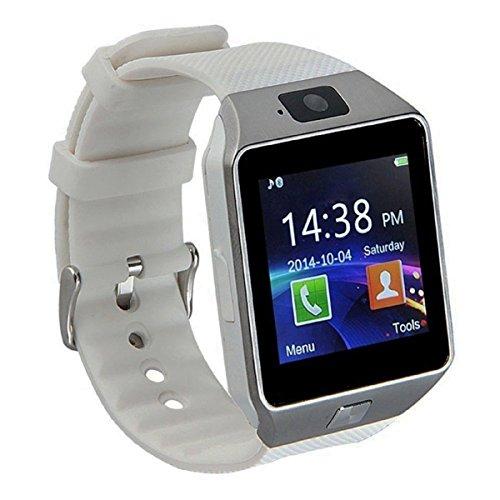 Pandaoo Smart Watch Handy entsperrt Universal GSM Bluetooth 4.0 Musik Player Kamera Kalender Stoppuhr Synchronisation mit Android Smartphones (weiß)
