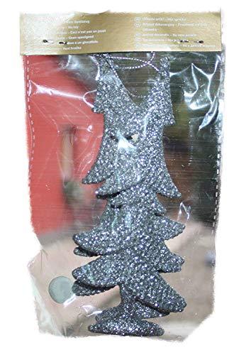 Weihnachtsbaum Hänger Baum 2er-Set Silber mit Glitzer