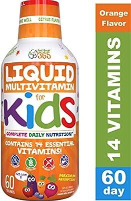 Children's Liquid Multivitamin by Feel Great 365 (60 Day Supply) | Daily Value of 14 Vitamins | Natural Kids Supplement ? Non-GMO, Sugar-Free, Gluten Free, Methyl B-12 Vitamin D3, Great Fruity Taste
