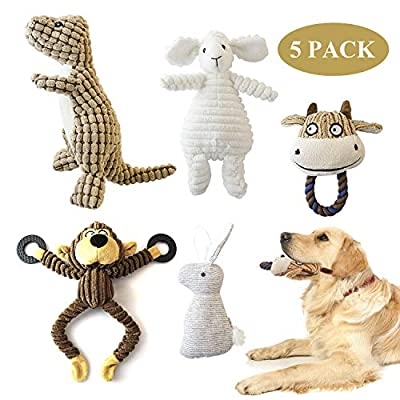 KONKY Squeaky Dog Toys Set, 5 Packs Durable Dog Plush Toy Chew Toys Dog Companion - Various Animals Shapes Training Toy for Puppy Small Medium Large Dogs (Dinosaur, Monkey, Sheep, Rabbit and Bull)