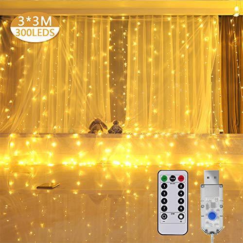Cortina de Luces LED,3 * 3M 300LED Cadena de Luces 8 Modos de Luz USB luces de Navidad IP44 Impermeables,Cadena de Luces para Decoraciónde Fiestas, Boda, Casa, Ventana,Patio,Jardín,etc-Blanco Cálido