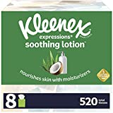 Kleenex Soothing Lotion Facial Tissues with Coconut Oil, Aloe & Vitamin E, 8 Cube Boxes, 65 Tissues Per Box (520 Total Tissues)