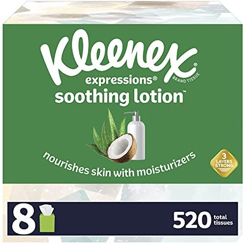 Kleenex loción calmante tejidos faciales con aceite de coco, aloe y vitamina E, 8 cajas de cubo, 65 pañuelos por caja (520 tejidos totales)