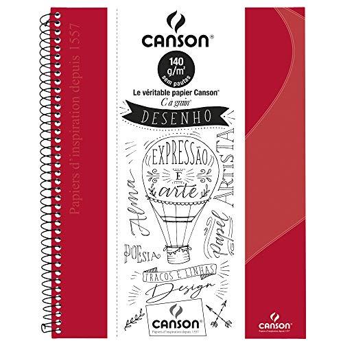 Caderno Desenho A4+ 140g/m², Canson, 71406819BR, Vermelho, 40 Folhas