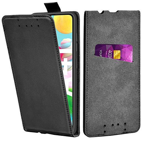 Adicase Galaxy A41 Hülle Leder Tasche für Samsung Galaxy A41 Handyhülle Flip Hülle Schutzhülle (Schwarz)