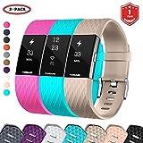 FunBand® Correa para Fitbit Charge 2, Edición Especial Soft Silicona Deportes Recambio de Pulseras Ajustable Reemplazo Accesorios para Reloj Fitbit...