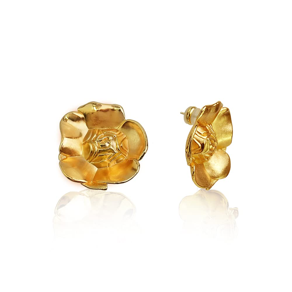 beadsu Workshop Rose Dealing full price famous reduction Shaped Brass Earrings Plated Gold Stud