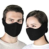 Your Choice Earflap Half Face Cover Cycling Outdoor Activity Black 2 Pack