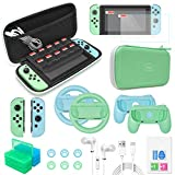 Accessories Bundle for Nintendo Switch, 26 in 1 Essential Protection Kits with Carrying Case, Screen Protector, Cards Storage Case, Hand Grips, JoyCon Cover & Charging Cable, Thumb Grip Caps