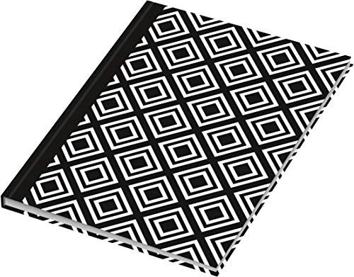 RNK Verlag 46745 - Taccuino Rhombus, formato A5, 96 pagine a pois, colore: Bianco/Nero