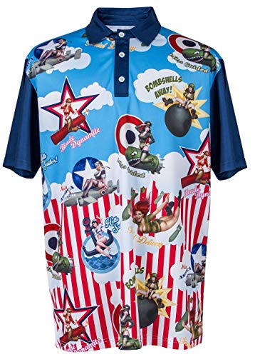 ReadyGOLF Mens Pin-Up Golf Polo Shirt - Bombshells Away Large