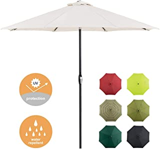 Tempera 9 Ft Patio Umbrella Outdoor Garden Table Umbrella with Push Button Tilt and Crank 8 Ribs, Beige