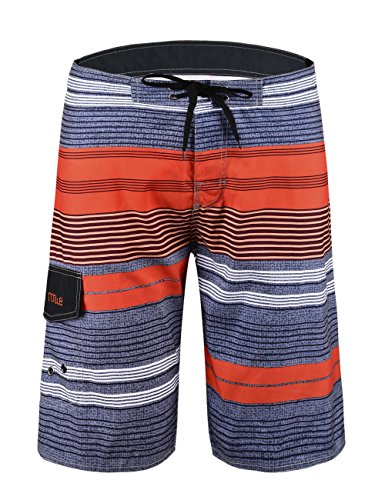 Nonwe Men's Tropical Stripe Beach Shorts Swim Trunks with Mesh Lining Orange 42