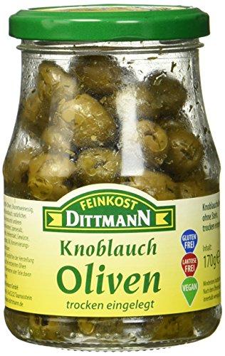 Feinkost Dittmann Knoblaucholiven ohne Stein, Trocken eingelegt Glas, 6er Pack (6 x 170 g)