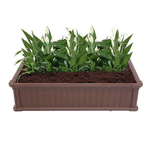 HCTT SHOW 484811.8' Blow Molded Planting Frame Garden Bed for Vegetables Flower Blow Molded Planting Planter Box Designed for Easy DIY and Cleaning Not Twist Or Rot Dark Brown