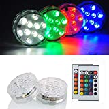 KITOSUN Submersible LED Lights 2.8' 3aaa Battery RGB Multicolors Waterproof Light w/Remote for Wedding Baby Shower Centerpiece Aquarium Pond Pool Party Vase Kayak Halloween Hookah Floral Lighting