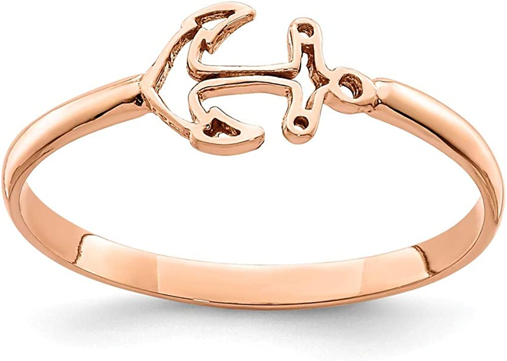 14k Rose Gold Nautical Anchor Ship Wheel Mariners Band Ring Size 7.00 Fine Jewelry For Women Gifts For Her