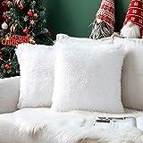 MIULEE 2er Set Kissenbezüge Weihnachten Künstlich Pelz Sofakissen Dekorative Dekokissen Kuschelkissen Plüschkissen Kuschelig Couchkissen Superweich Kissen Flauschig Kissenbezug für Sofa 45x45 cm Weiß