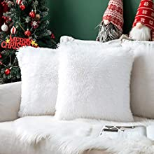 MIULEE Juego de 2 Cojines Pelo Protectores Faux Fur Navidad Throw Funda de cojín Deluxe Home Decorativo Cuadrados y Suaves Cojines PeloPara la Hogar Sofá Cama del 45x45cm Blanco