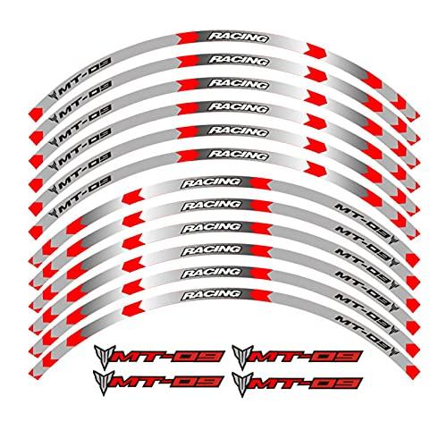 6 Color Declaraciones de la Rueda de la Motocicleta Pegatinas Reflectantes Rápes de Rim para Yamaha MT-09 Propósito General (Color : B Red)