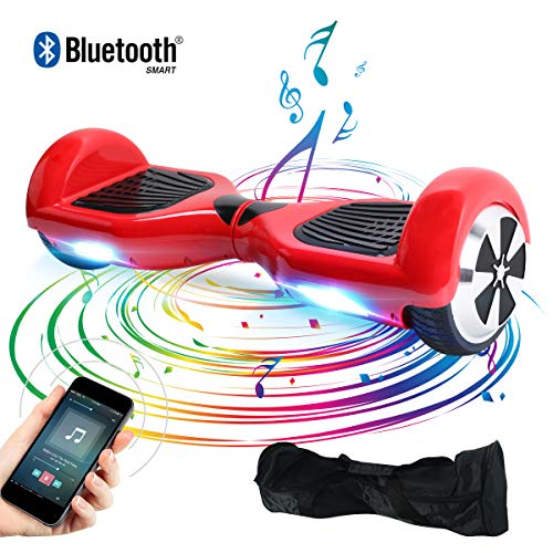 Windgoo Hoverboard, 6.5 Zoll Self Balance Scooter mit Bluetooth Lautsprecher, LED Lights Elektro Scooter E-Skateboard (Rot)