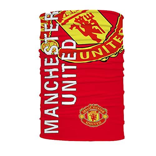 Footable Club Soccer Team Logo Bandanas Multifunction Neck Gaiter Tube Headwear Scarf Shield (Manchester United, 19.6 x 9.8 inch)
