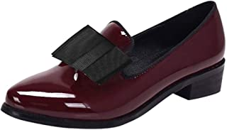 Padaleks Women's Penny Loafers Patent Leather Slip On Oxfords Shoes Flat Low Heel Bowknot Casual Pumps Shoe
