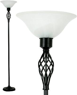 Lampadaire traditionnel en satin noir d'orge torsadé avec abat-jour en albâtre givré