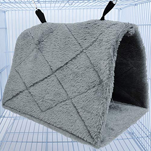 Xpccj - Cama para pájaros, invernal, cálida, para pájaros, pájaros, jaula de pájaros, tienda de campaña de felpa suave, No nulo, Gris, Small