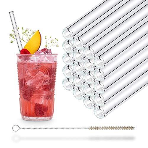 HALM Cannuccia - Cannucce in vetro riutilizzabili - Set di 20 cannucce dritte da 20cm + 1 spazzola per la pulizia - Senza BPA - Lavabili in lavastoviglie - Ecosostenibili - Per cocktail e frullati