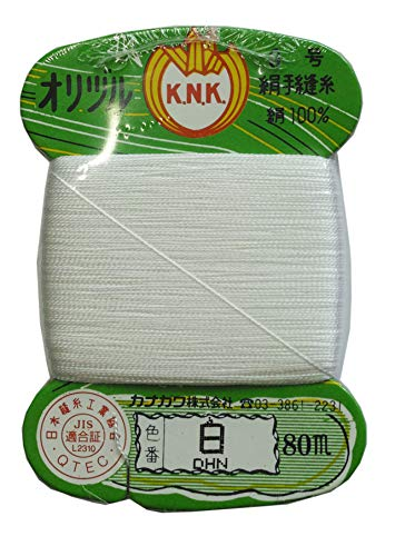 カナガワ オリヅル 絹手縫い糸 80m  白