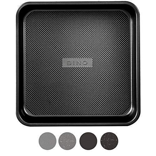 BINO Bakeware Nonstick Square Baking Pan, 9 Inch - Black | Premium Quality Textured Cake Pan with Even-Flow Technology | Dishwasher Safe | Non-Toxic