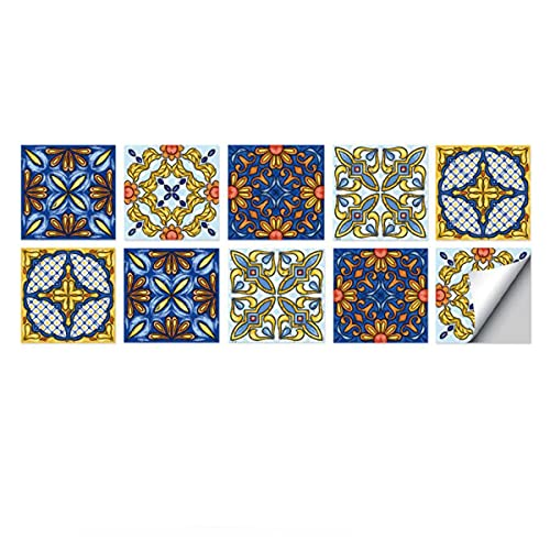 WANGTAO001 10pcs Pegatinas de Baldosas Autoadhesivas para Azulejos, Adhesivo de Pared extraíble Impermeable para baño, Cocina, salpicadero, decoración del hogar (Color : C, Size : 15 * 15cm)