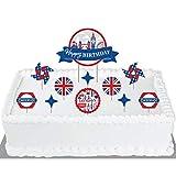 Big Dot of Happiness Cheerio, London - British UK Birthday Party Cake Decorating Kit - Happy Birthday Cake Topper Set - 11 Pieces