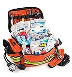 Scherber First Responder Bag   Fully-Stocked Professional Essentials EMT/EMS Trauma Kit   Reflective Bag w/8 Zippered Pockets & Compartments, Shoulder Strap & 200+ First Aid Supplies - Orange