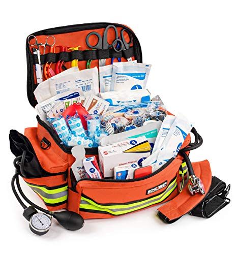 Scherber First Responder Bag | Fully-Stocked Professional Essentials EMT/EMS Trauma Kit | Reflective Bag w/8 Zippered Pockets & Compartments, Shoulder Strap & 200+ First Aid Supplies - Orange
