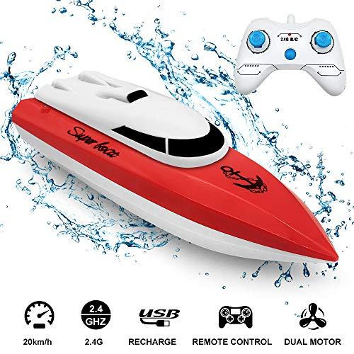 Electric RC Boat 2.4GHz, econoLED 2020 Upgrade Remote Control Boat,High Speed Remote Control Racing Boat Toys for Pools and Lakes with Extra Battery - Best Gifts for Adults Kids Boys Girls (Red)