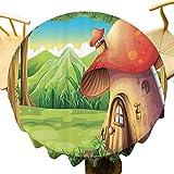 Decoración de setas moderno mantel redondo Shroom House Land Umbrella Mountain Daisies Weeds alrededor de bosques Montañas Uso diario Diámetro 36 pulgadas
