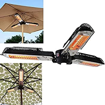 NIUXIAO Electric Patio Umbrella Heater Folding Outdoor Electric Infrared Space Heater with 3 Heating Panels for Pergola Or Gazabo Parasol,A