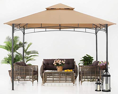 ABCCANOPY Gazebos de patio para patios doble techo suave toldo jardín patio trasero Gazebo para sombra y lluvia, color caqui