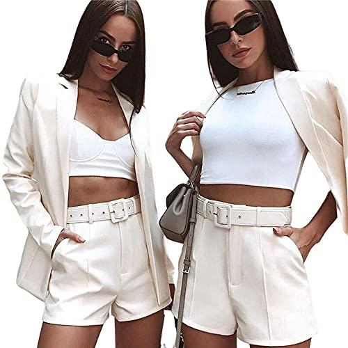 YANGPP Blazers de Mujer,Traje De Pantalón Corto Sexy Traje De Rebeca De Solapa Casual-Blanco_3XL