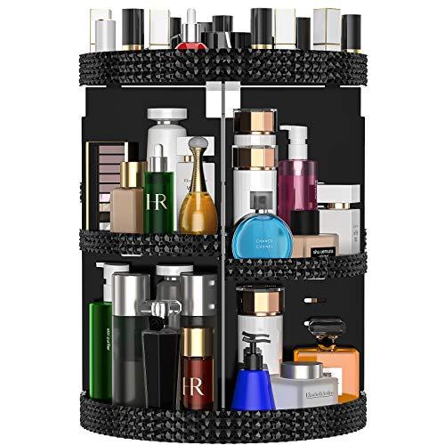 Awenia Organizador de Maquillaje Giratorio 360 Grados Organizador de Cosméticos Transparente Acrílico, con 7 Bandejas Ajustables, para Baño Dormitorio, 28 * 38cm (Negro)