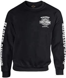 HARLEY-DAVIDSON Men's Lightning Crest Fleece Pullover Sweatshirt, Black