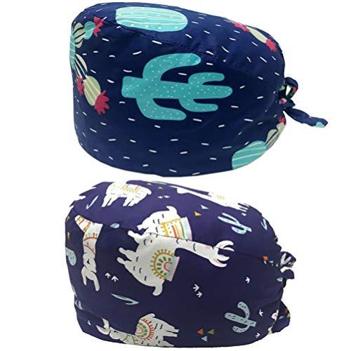 PRETYZOOM 2 Stücke OP Haube Baumwolle Chirurgische Hut Kochmütze Verstellbar Kopfhauben Peeling Kappe für Arzt Zahnarzt Krankenschwester Chemo Bandana Kopfbedeckung