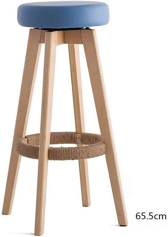 Carl Artbay Wooden Footstool Blue Cushion Wooden Wooden Frame High 65cm Bar Chair High Stool Modern Simplicity Rotating Chair Home